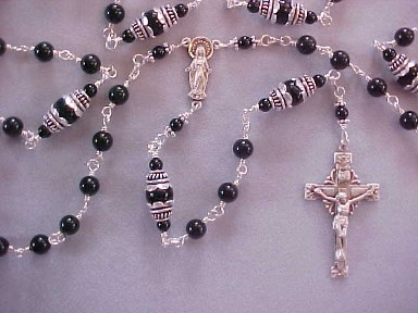 handmade boys first communion rosary with black obsidian