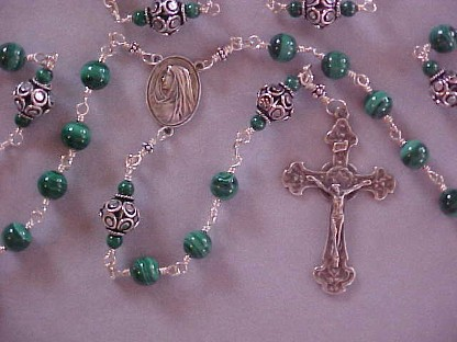 sterling silver wire wrapped rosary with 8mm malachite, large cutout sterling silver beads and hand cast crucifix and center in Celtic design