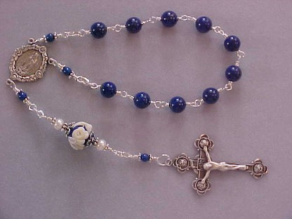 sterling silver wire wrapped single decade chaplet with lapis lazuli and rose cameo Our Father