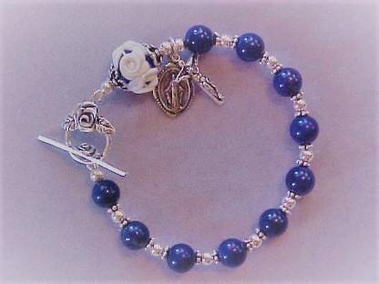 Childrens Flower Blue 8mm Rosary Bracelet