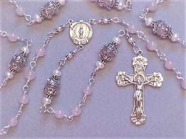 Sodalite Bronzite Freshwater pearl and Silver Catholic Rosary