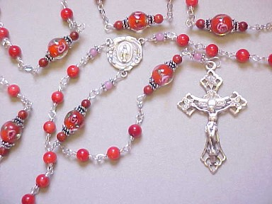 handmade red coral rosary