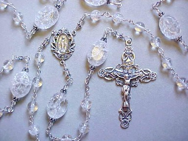 handmade sterling silver wire wrapped ice flake quartz gemstone rosary