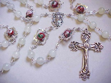handmade sterling silver wire wrapped rosary with celery jade, cloisonné and hand cast crucifix and center
