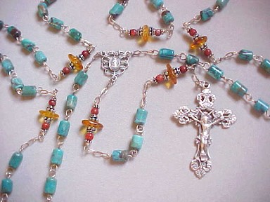 handmade sterling silver rosary with turquoise, amber and red coral