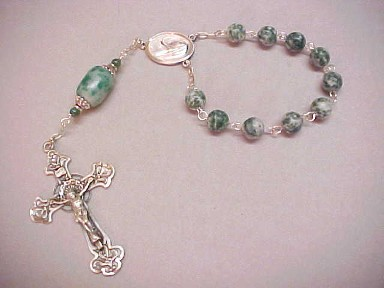 handmade tree agate single decade rosary